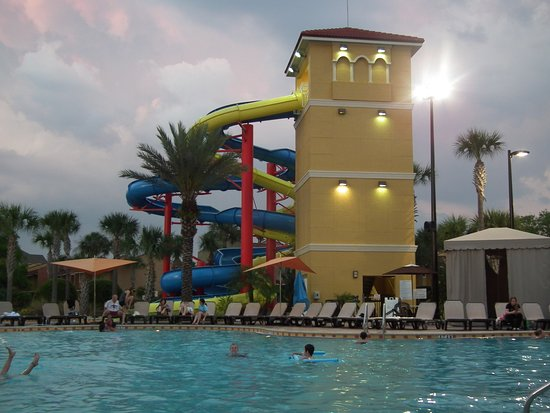 Vacation Villas at Fantasy World II: Water slides and pool with lounging.