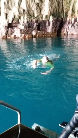 Whitianga, New Zealand: A Winter swim in the large cave off the Glass Bottom Boat