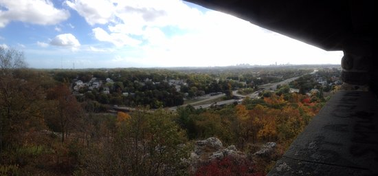 Medford, MA: view from Wright's Tower towards Boston in the fall