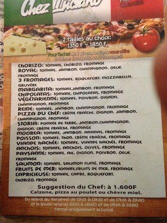 Chez Luciano's: la carte !