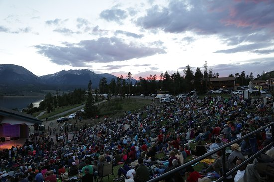 Dillon, CO: sunset behind the stage