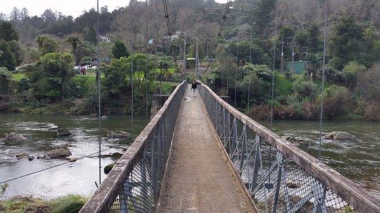 Waihi, Yeni Zelanda: The first bridge to walk over from the carpark