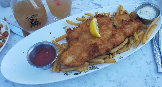 The dead fish fish chips with an arnold palmer picture for The dead fish crockett