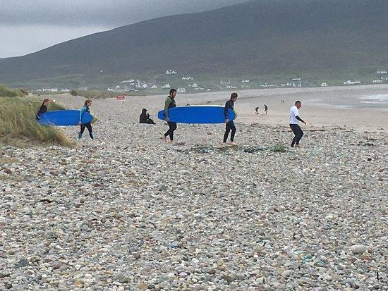 Atlantic Drive on Achill Island: surf boarders