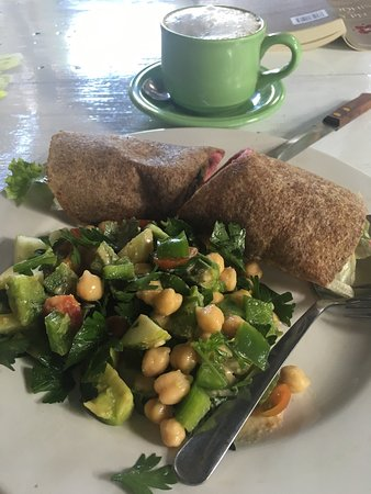 The Little Green Cafe & Little Green Wholefood Store: Falafel wrap and salad (sweet potato, Apple ETC) 😍
