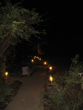 ‪‪Makgadikgadi Pans National Park‬, بوتسوانا: Illuminated path between the restaurant and cabins.‬