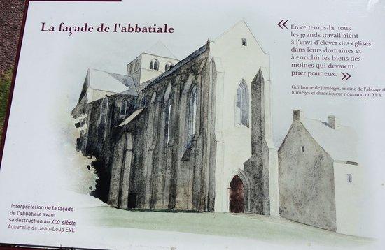 Hambye, Frankrike: Aquarelle. Interprétation de la façade de l'Abbatiale avant sa destruction au XIXème siècle.