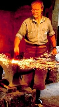 Slangerup, Danmark: The blacksmith at work