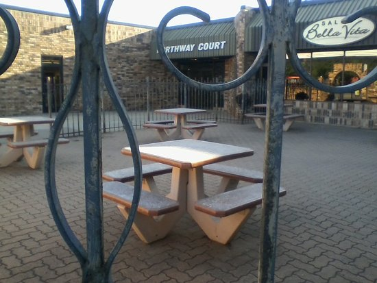 Saint Cloud, MN: A patio outside Lily's and Subway.