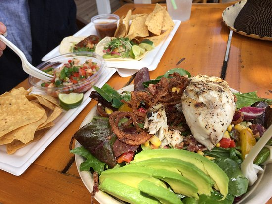 Descanso Beach Club: Lunch-ceviche, fish tacos and salad with grilled fish