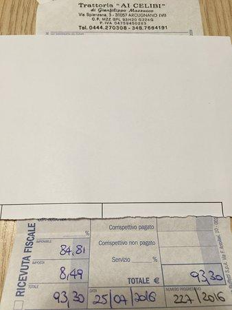 Provincia di Vicenza, Italia: Non avendo con me il cellulare ho post/fotografato la ricevuta come prova.