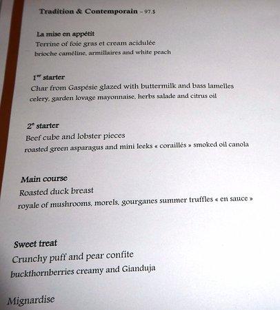 Restaurant Initiale : Traditional Menu