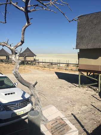 Onkoshi Camp: View from reception towards the rooms and the pan beyond