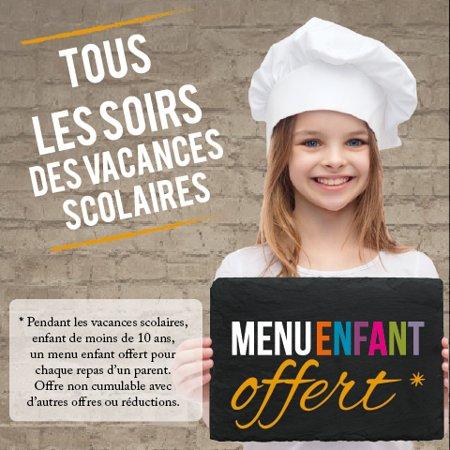 Coquelles, France: Menu enfant offert tous les soirs des vacances scolaires