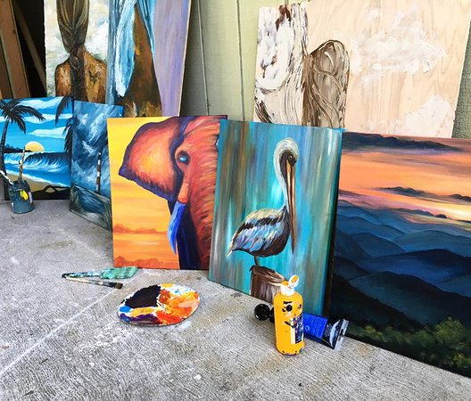 Folly Beach, SC: Creating Class Paintings in the Studio