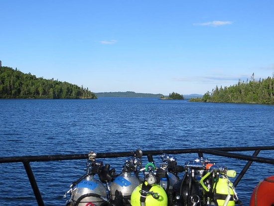 Rossport, Kanada: Dive gear and scenery as we travel to the dive spot