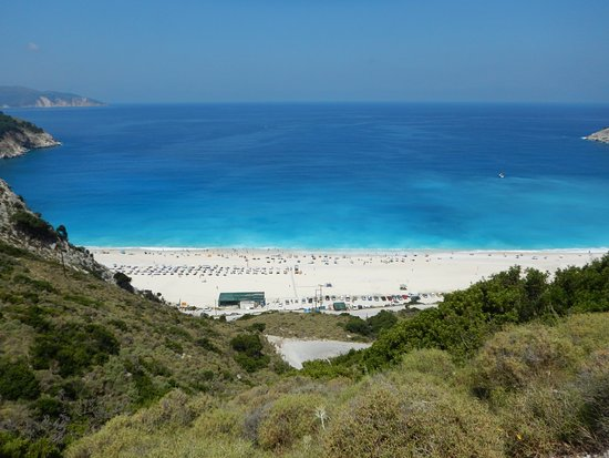Myrtos Beach: spiaggia vista dall'alto