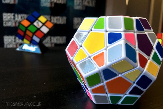 rubix cube in the waiting area before you enter a room picture