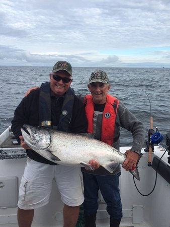 Pacific King Fishing Charters: Landed this beautiful 37 lb Tyee Chinook with Captain Hank!!