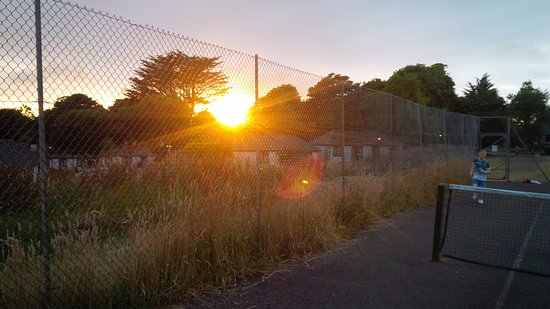 Gulval, UK: sunset on the tennis court