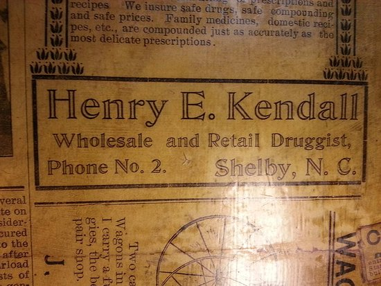 Henry Kendall Drug ad: on a table in Shelby Cafe.