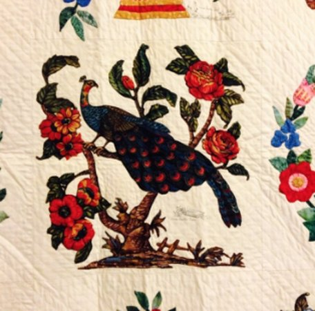 Virginia Quilt Museum: Close up of bird on quilt