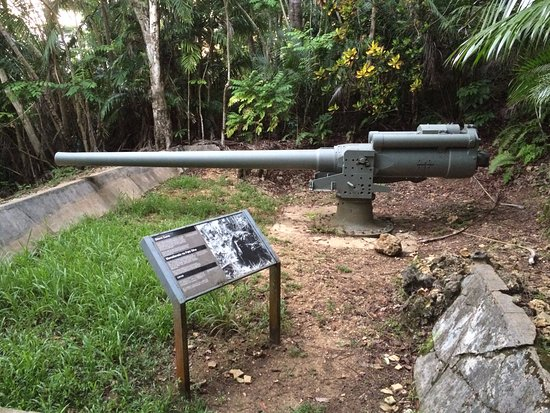 Piti, Mariana Islands: 3rd coastal defense gun with concrete pad visible