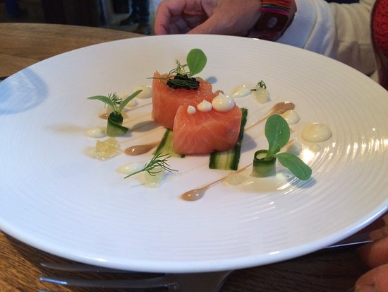 Kentisbury, UK: Salmon with honey, soy and cucumber