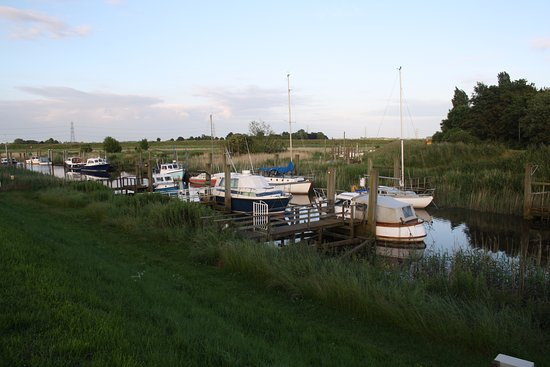 Spalding, UK: View of the boats from bedroom window at high tide