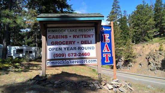 Naches, WA: Rimrock Lake Resort sign off Hwy 12