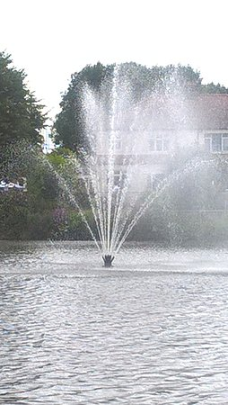 Romford, UK: Close-up of the water feature in the river
