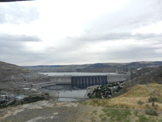 Grand Coulee Dam from hilltop viewpoint.