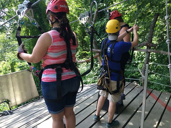 Barnardsville, Северная Каролина: Getting attached to the zip line for take off!