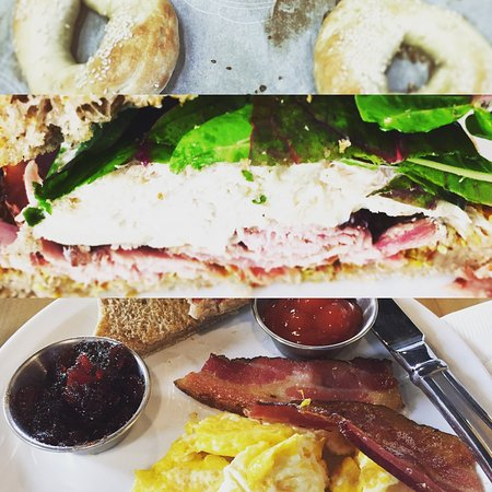 Liverpool, Kanada: A collage of our bagels, our Dancing Chicken Club sandwich and our weekend brunch