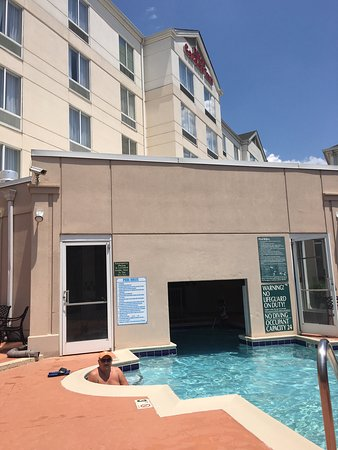 Hilton Garden Inn Charlotte North: The pool was small! Max capacity for indoor and outdoor combined is 24 people.
