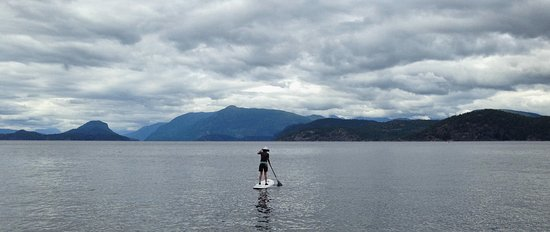 Powell River, แคนาดา: Using the stand-up paddleboard