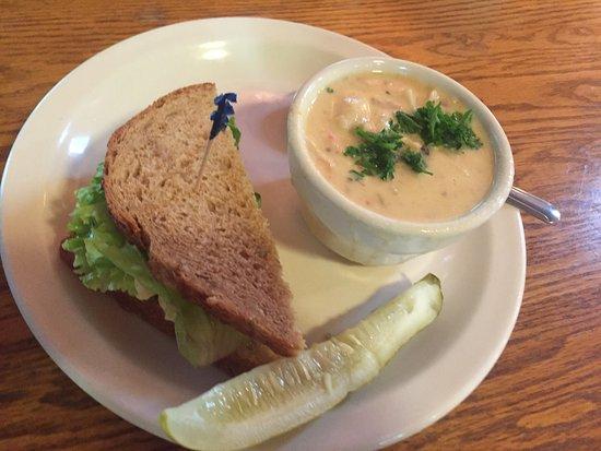 Stehekin Pastry Company: seafood chowder & egg salad