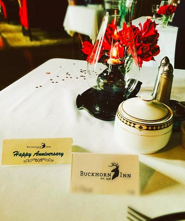 Buckhorn Inn: It was our anniverary, and the Inn set our dinner table in a beautiful and special way.