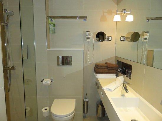 Clarion Hotel Arlanda Airport : Bathroom with no door shower.