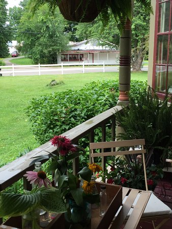 Waupaca, WI: View of original fruit stand from covered porch