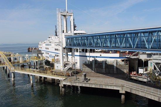 Ferry unloading upon arrival at Tsawwassen terminal