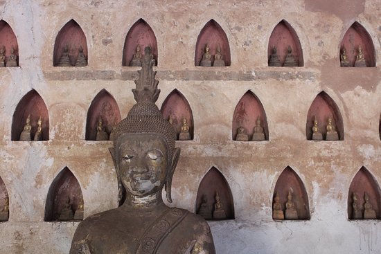 Vientiane, Laos: The wall around the Ubosot (church)