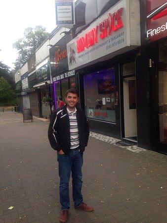 Sale, UK: Satisfied customer outside!
