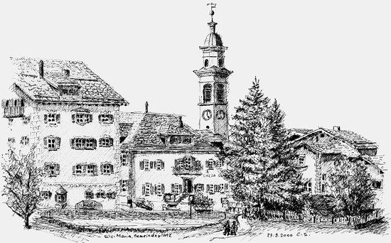 Sils im Engadin, İsviçre: Ansicht des Dorfplatzes vom Zugang zum Fextal aus, links das Hotel Privata.