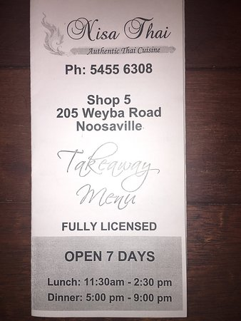 Noosaville, Avustralya: Takeaway and delivery menu