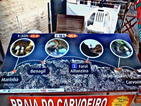 Carvoeiro, البرتغال: tarif et on rentre dans bien plus de grottes que 4 !!