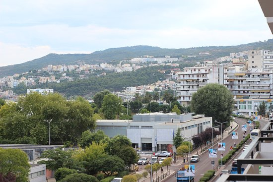 Hotel Oceanis Kavala: View to the right of my balcony. The Archaeological museum is in the front.