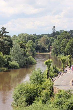 View looking up the river taken from the peak of the Ironbridge.