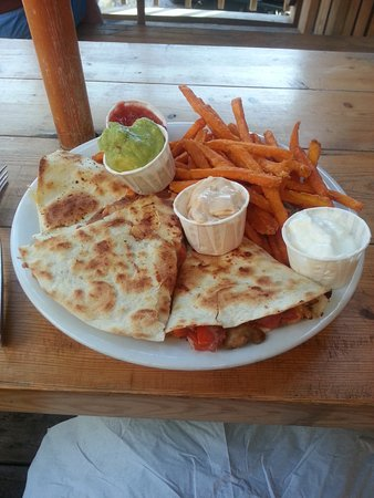 The Golden Taps: Quesadilla with guacamole and yam (sweet potato) fries