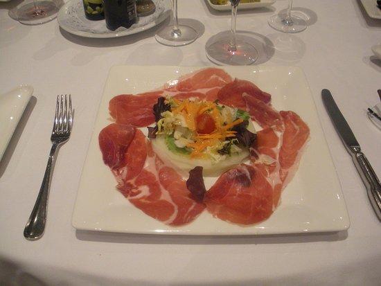 HCC St. Moritz: Jamon Iberíco con carpaccio de melón